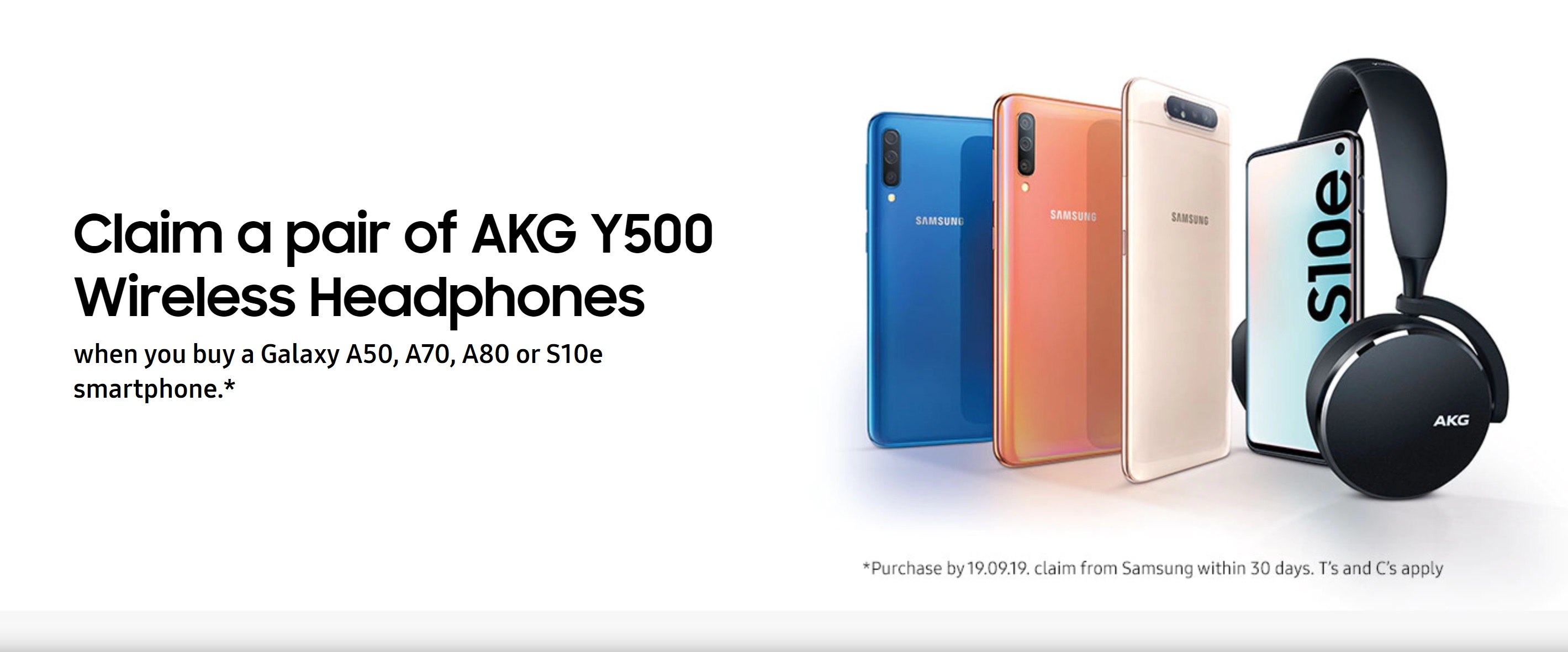 Claim Free AKG Wireless Headphones with Samsung S10e, A80, A70 and A50 contract deals