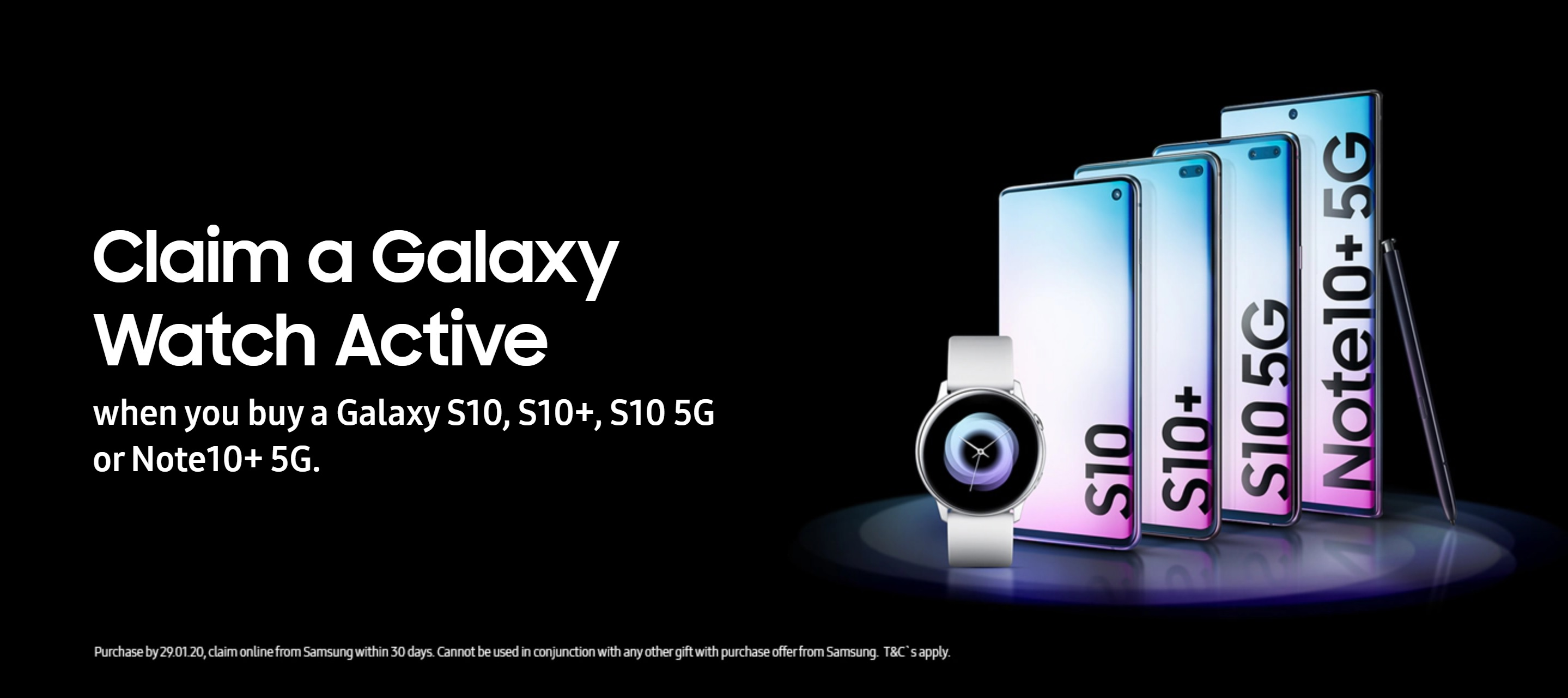 Free Galaxy Watch Active with Samsung Galaxy S10, S10+ and Note 10+ 5G contract and upgrade deals