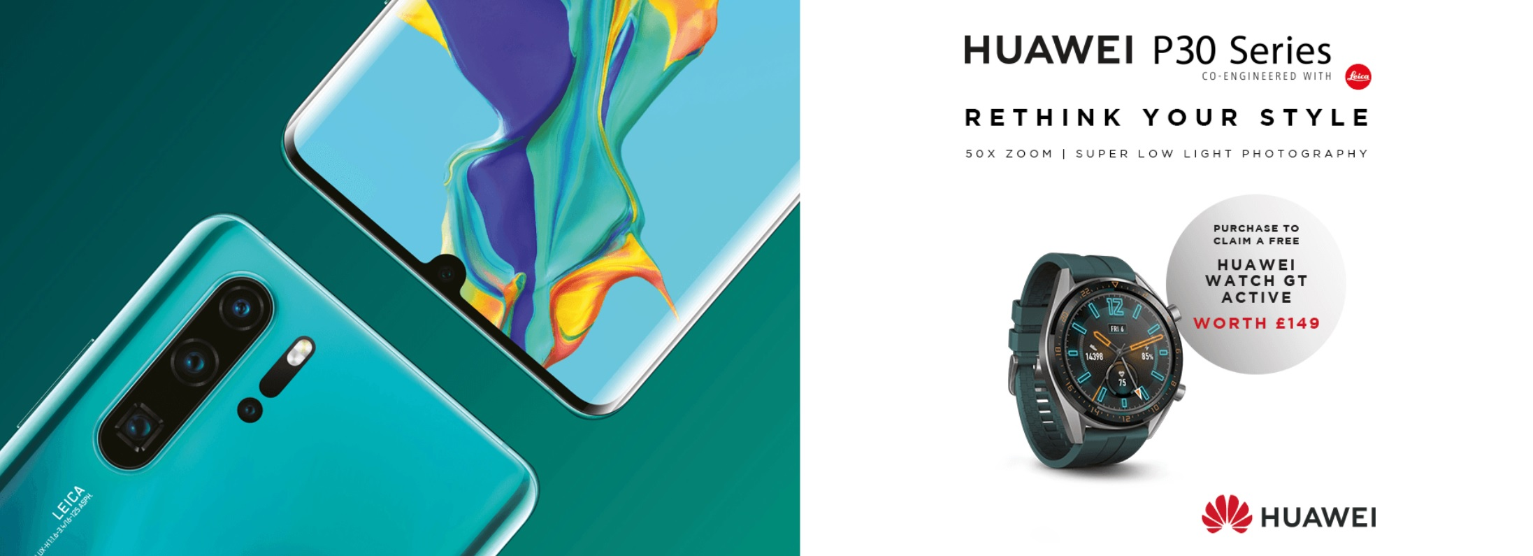 Huawei P30 Pro cheapest deals with Free Watch GT Active