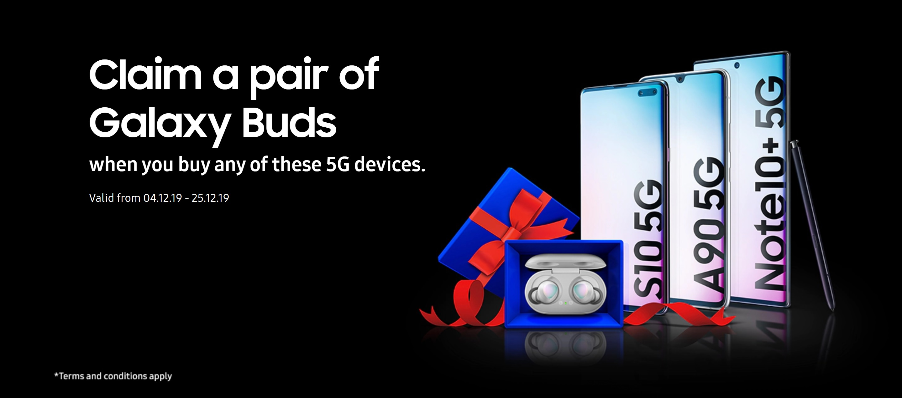 Samsung S10 5G, Note 10+ 5G and A90 5G with free Galaxy Buds