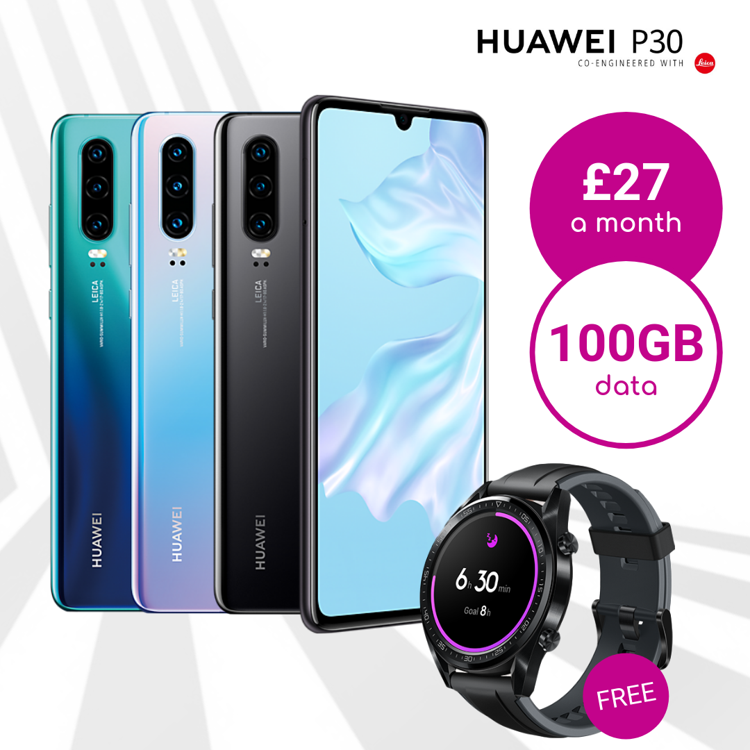 Huawei P30 black, breathing crystal and aurora blue with 100GB data deals and free smartwatch