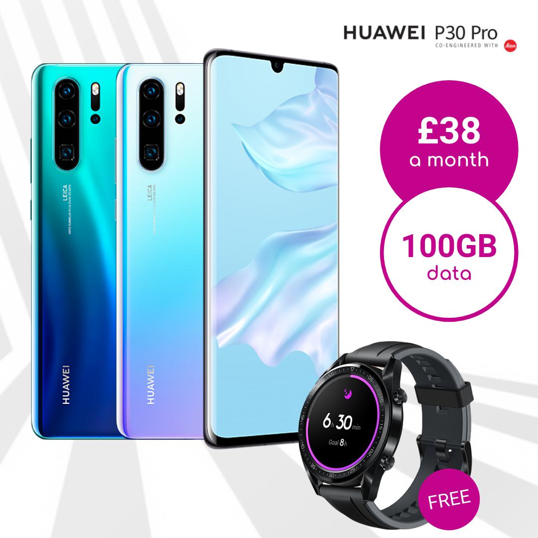 Huawei P30 Pro with 100GB data deal plus Free Huawei Watch GT