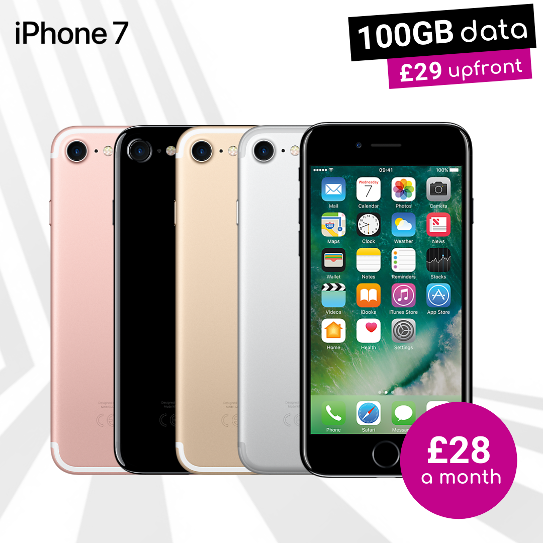 iPhone 7 Matte Black, Jet Black, Rose Gold, Silver and Gold with 100GB data contract deals