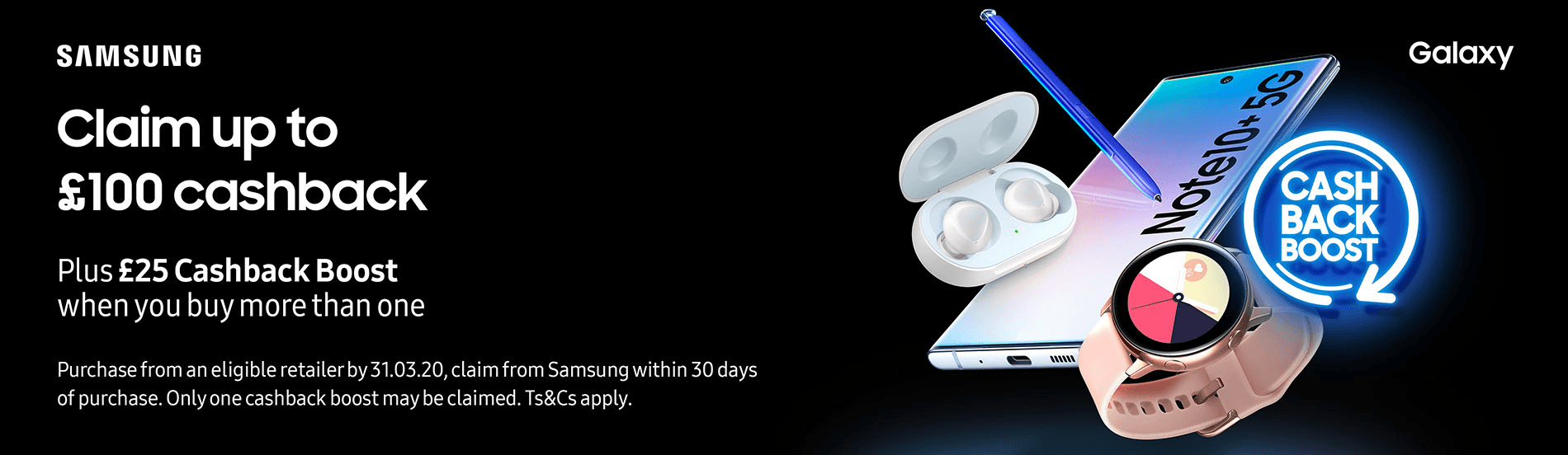 Claim up to £100 cashback from Samsung with your new Samsung phone deal