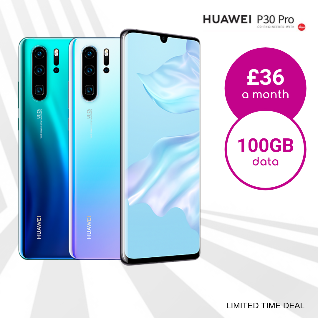 Exclusive 100GB data deals for Huawei P30 Pro Aurora Blue, Breathing Crystal and Black