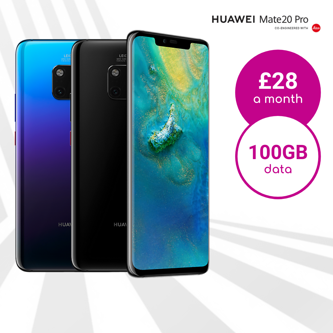 Huawei Mate 20 Pro Twilight & Black with 100GB data deals
