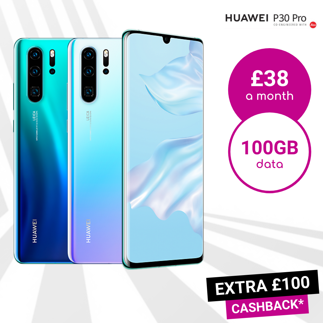 Huawei P30 Pro Breathing Crystal, Blue Aurora and Black 100GB data deals
