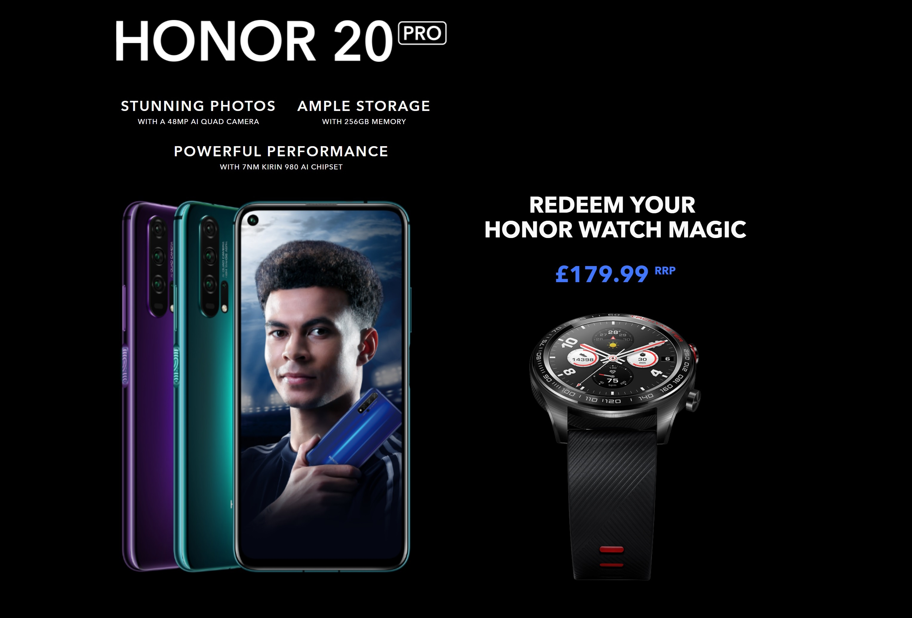 Claim a free Honor Magic Watch wirth £179 with Honor 20 Pro contract deals