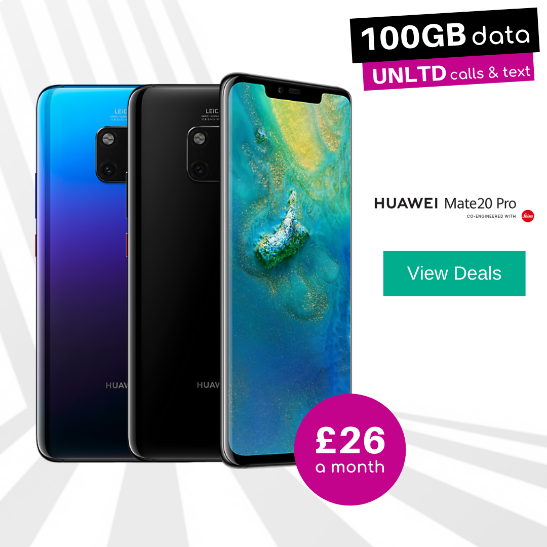 Huawei Mate 20 Pro Black and Twilight 100GB data deals
