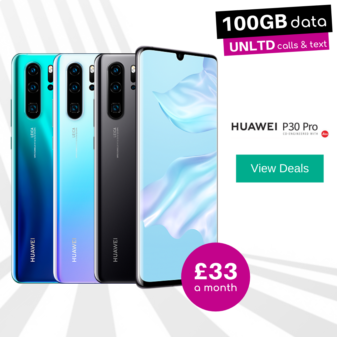 Huawei P30 Pro Black, Blue Aurora and Breathing Crystal 100GB data deals