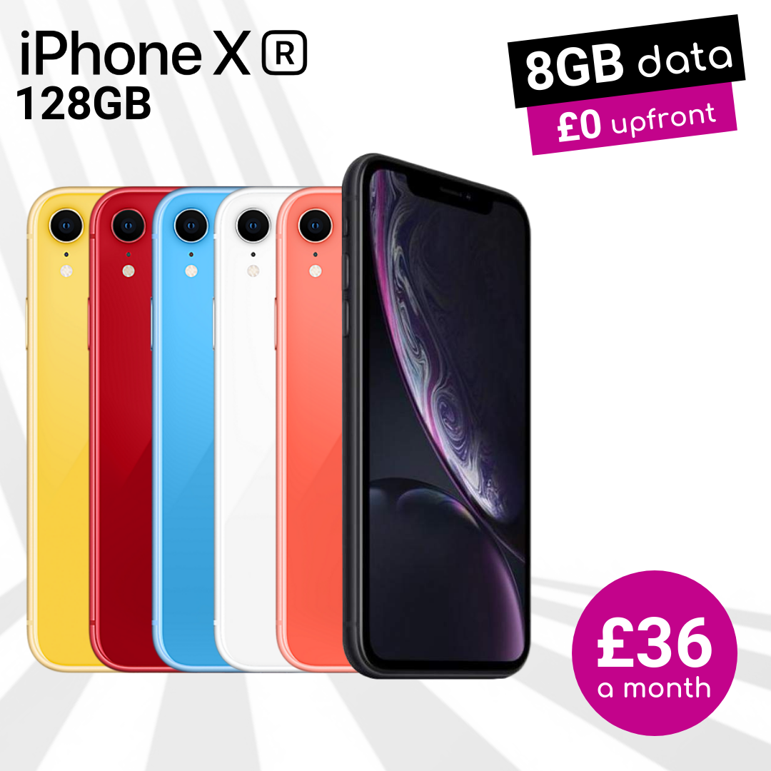iPhone XR 128GB online exclusive deals with £0 upfront and 8GB data from just £36 a month