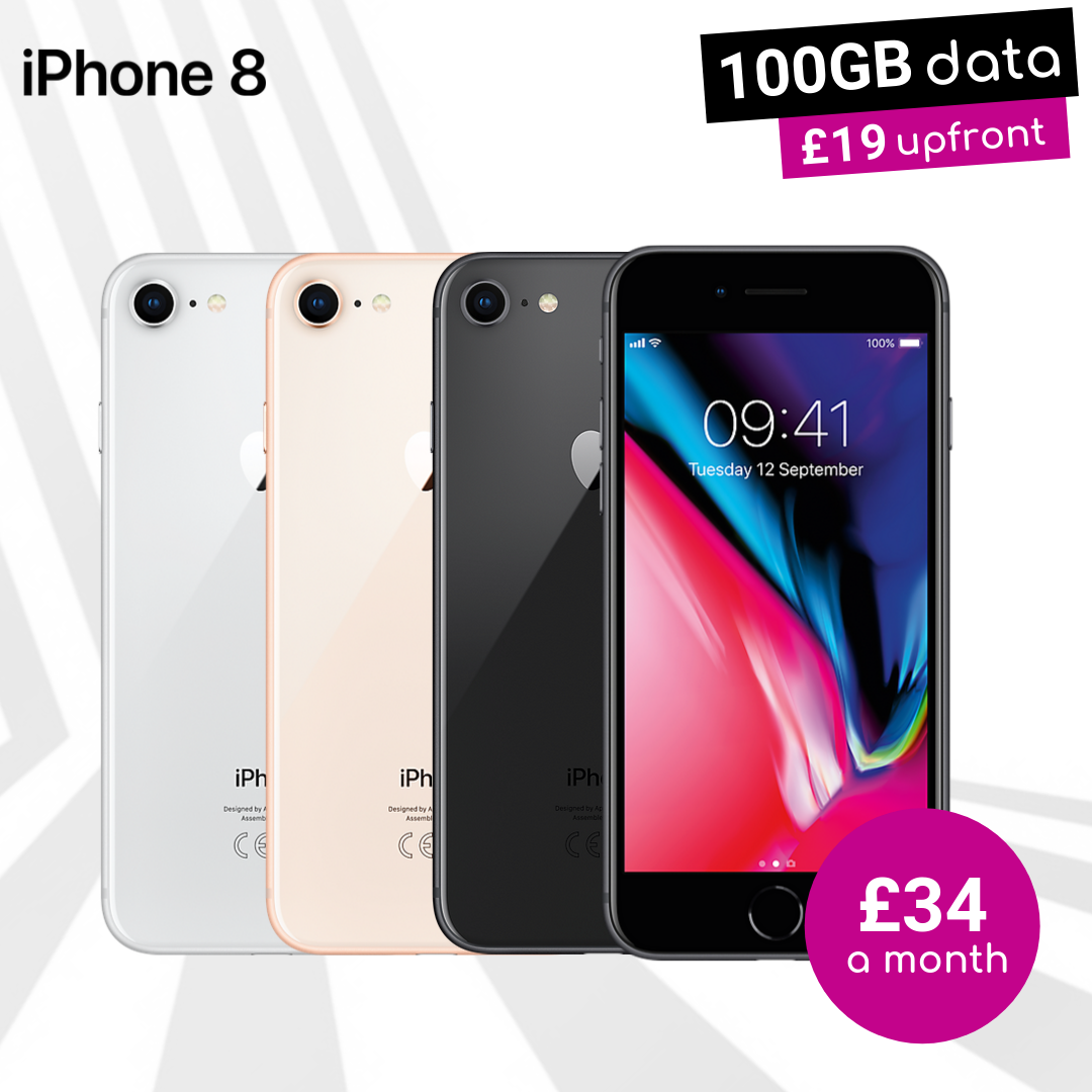 iPhone 8 Space Grey, Gold and Silver with 100GB data deals