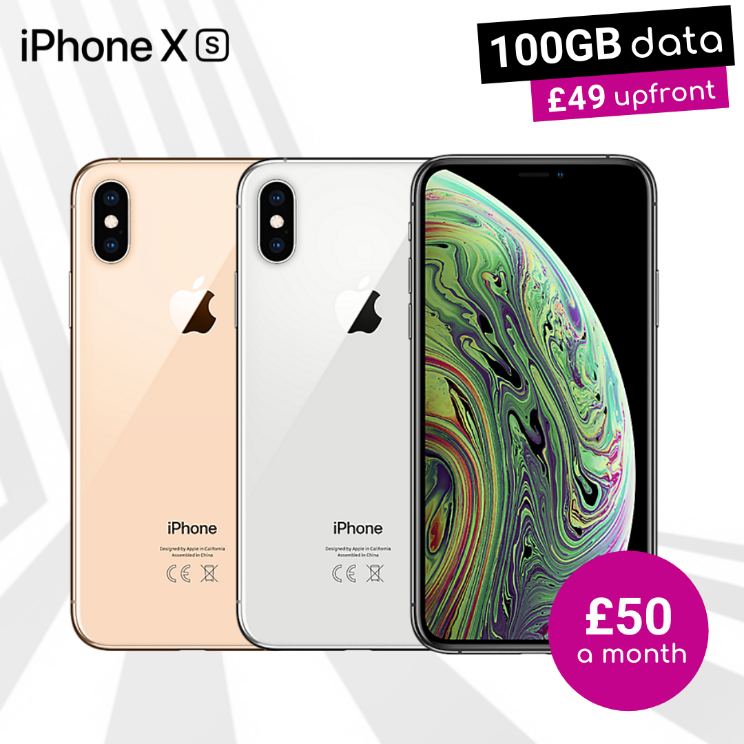 iPhone XS black, gold and silver with 100GB data contracts