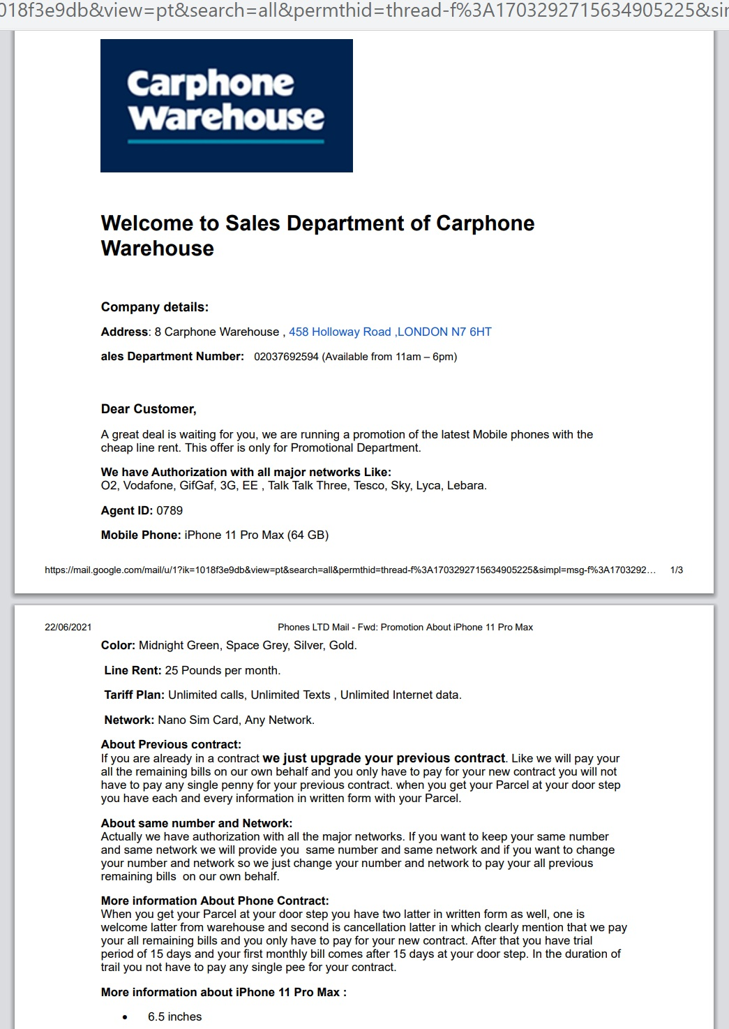 Scam email from Carphone Warehouse fraudsters