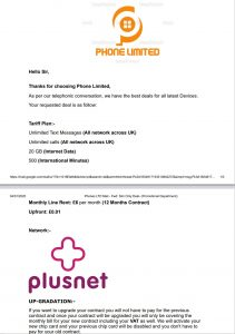 Scam email about up gradiation on PlusNet