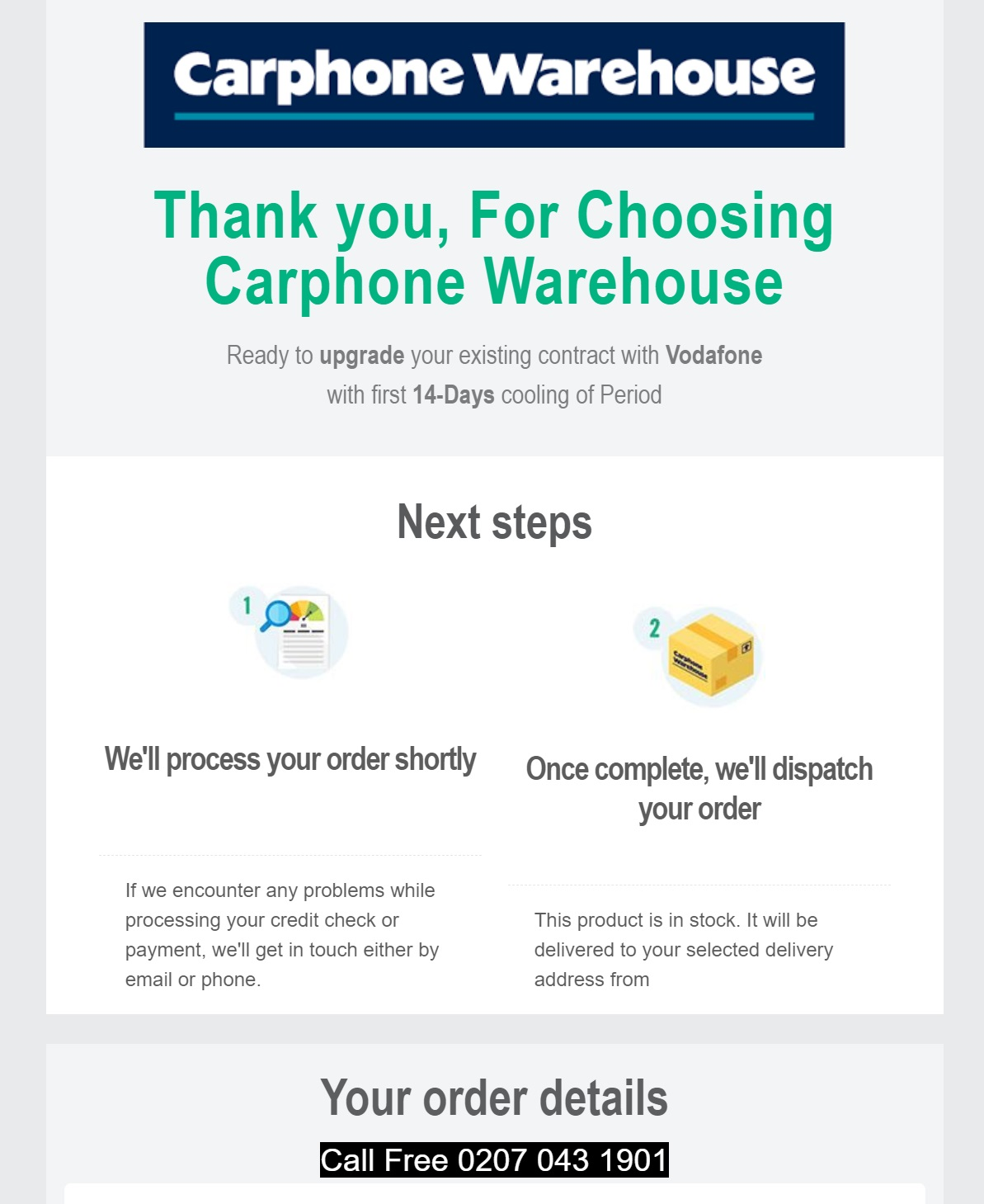 Scam email from Carphone Warehouse
