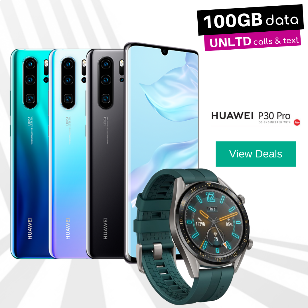 Free Huawei Watch GT Active with Huawei P30 Pro contract and upgrade deals