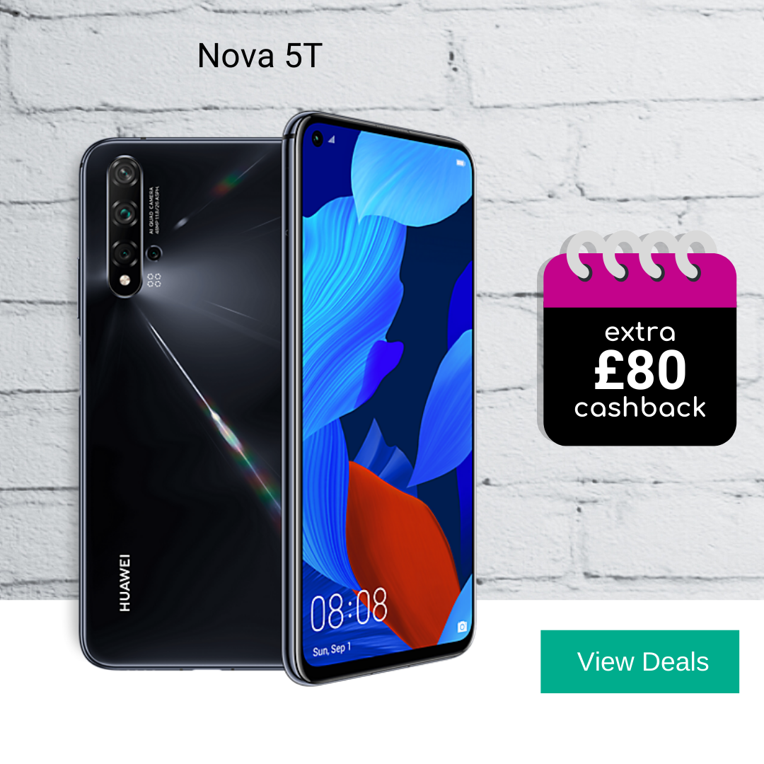 Huawei Nova 5T deals with £80 cashback