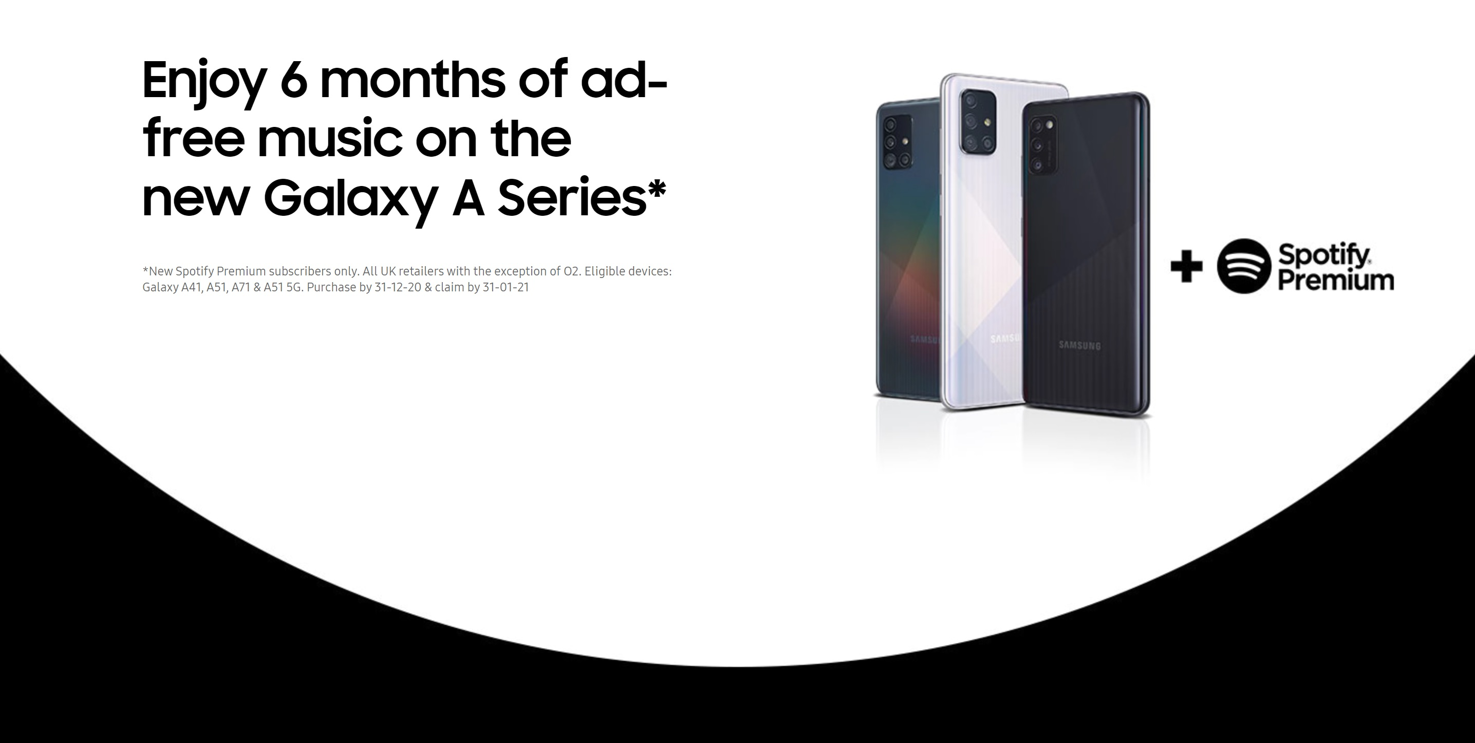 Samsung Galaxy A41, A51 and A71 with 6 months Free Spotify Premium
