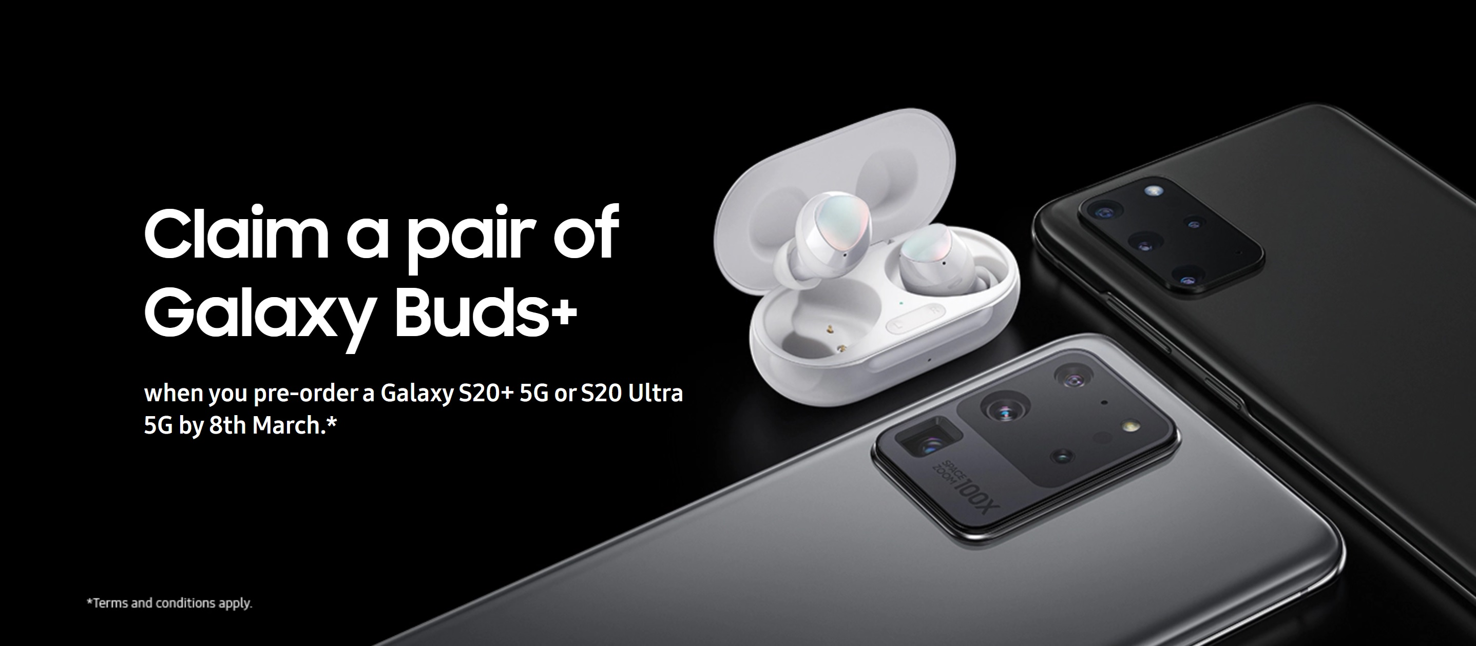 Samsung S20+ (S20 Plus) 5G and Samsung S20 Ultra 5G deals with Free Galaxy Buds+