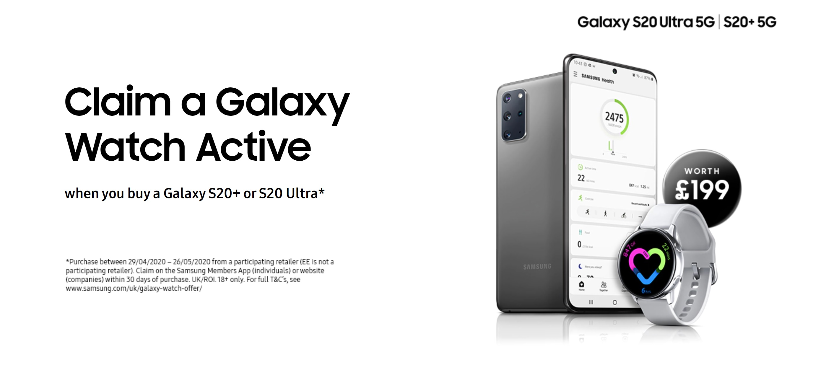 Samsung S20 Plus and Ultra 5G deals with Free Galaxy Watch Active