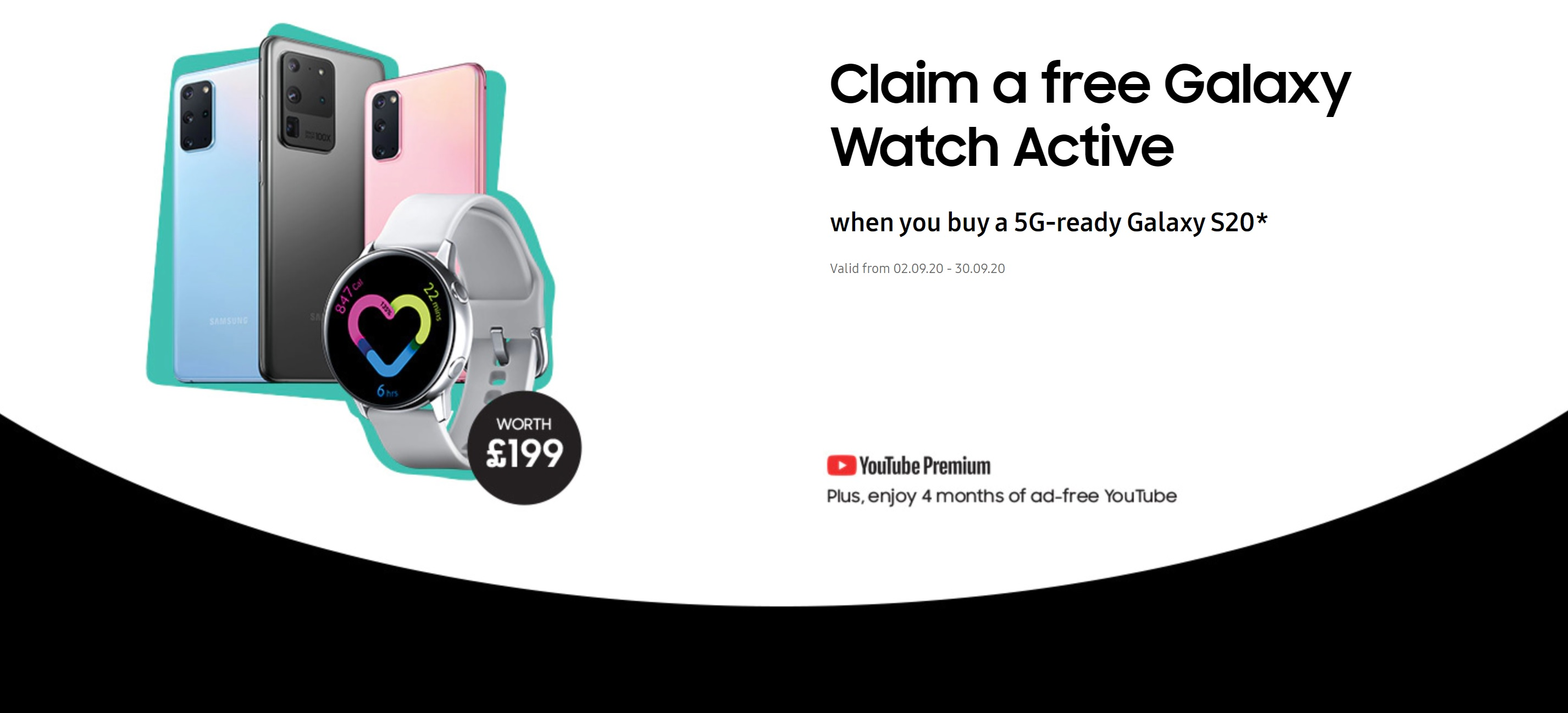Free gifts with Samsung S20 5G, S20+ 5G and S20 Ultra 5G deals, claim a free Galaxy Watch Active and 4 months free Youtube Premium.