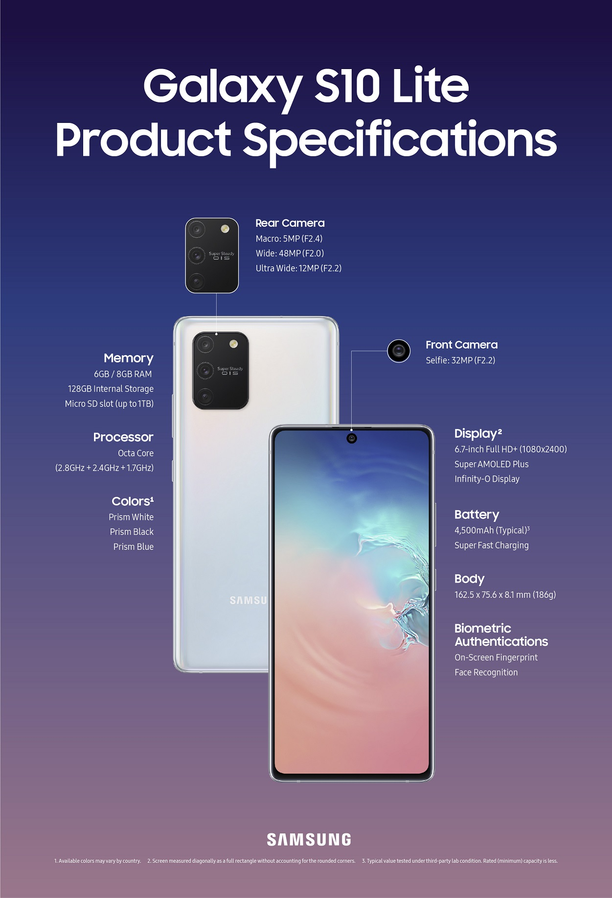 Samsung Galaxy S10 Lite screen size and resolution, dimensions, cameras front and back, battery and memory.
