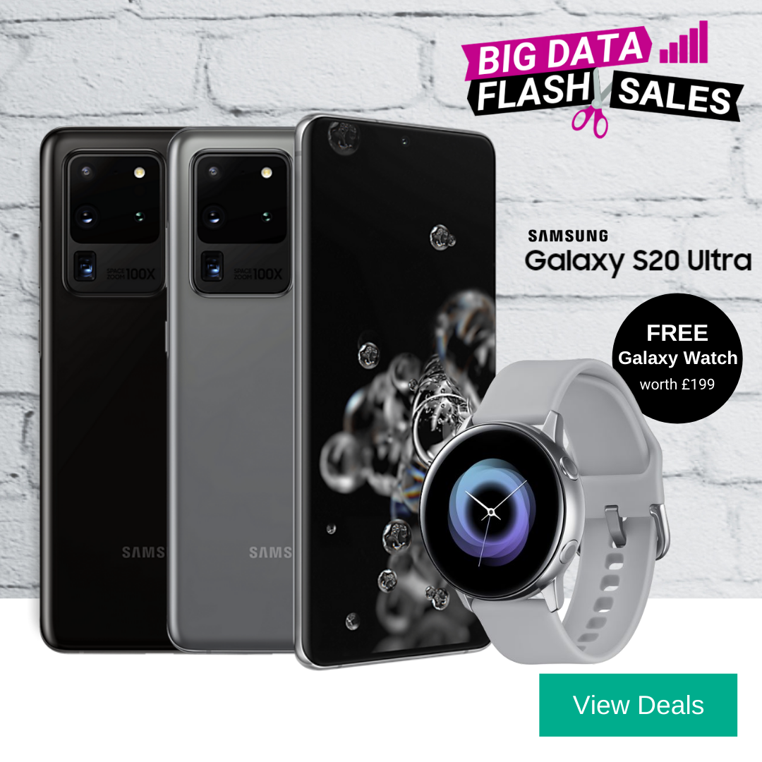 Samsung S20 Ultra 5G deals with free Galaxy Watch Active