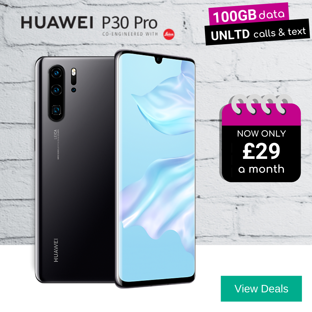 Cheapest contract deals for the Huawei P30 Pro