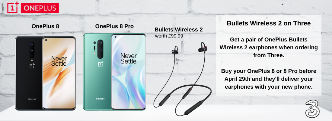 OnePlus 8 and 8 Pro deals with Free OnePlus Bullets Wireless 2 Earphones