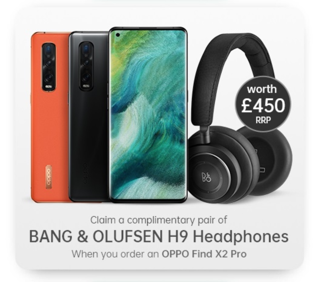 Claim free Bang & Olufsen Beoplay H9 Headphones worth £450 with the best Oppo Find X2 Pro 512GB contract deals.