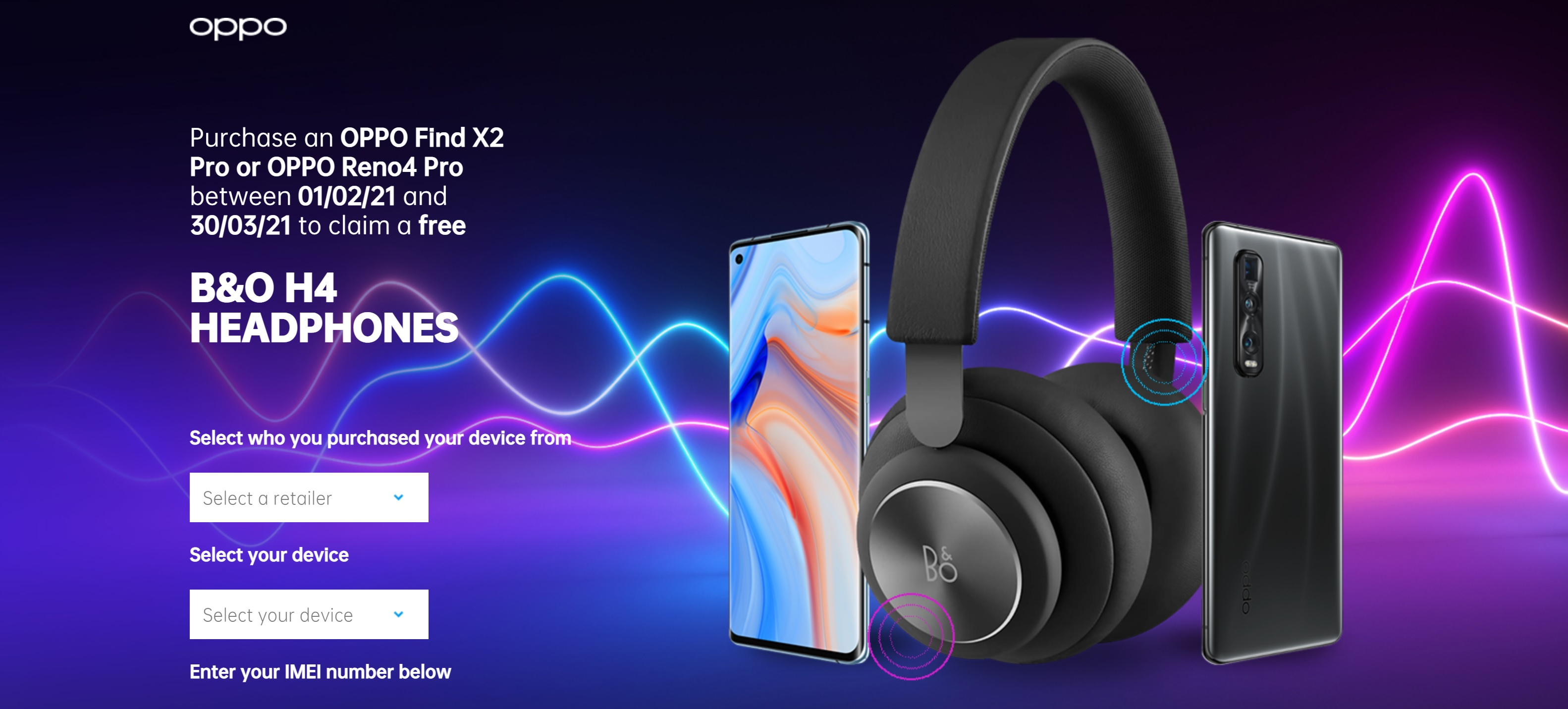 Claim Free Bang and Olufsen H4 Headphones with Oppo Find X2 Pro Deals