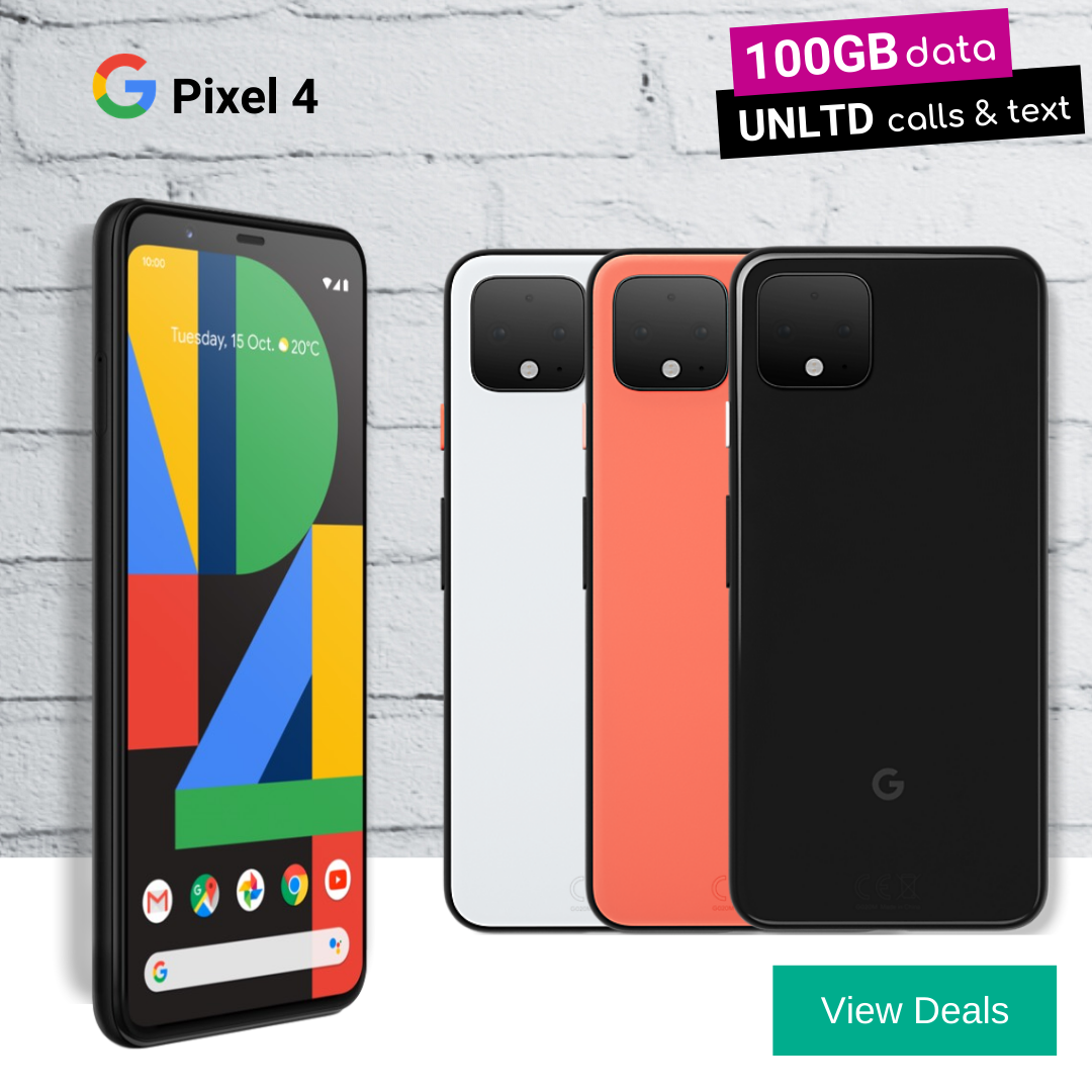 100GB monthly data deals for Google Pixel 4 in Black and White colours