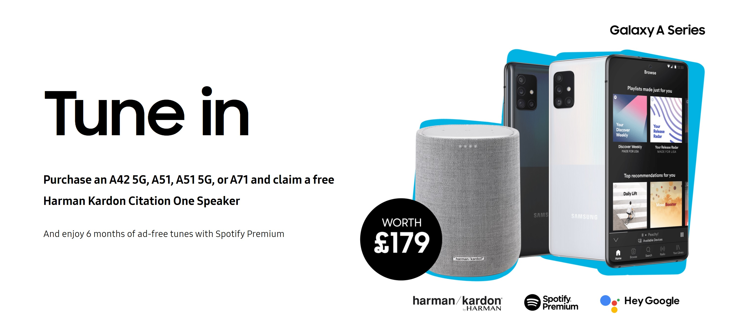 Samsung A71, A51, A51 5G and A42 5G deals with Free Harman Kardon Smart Speaker