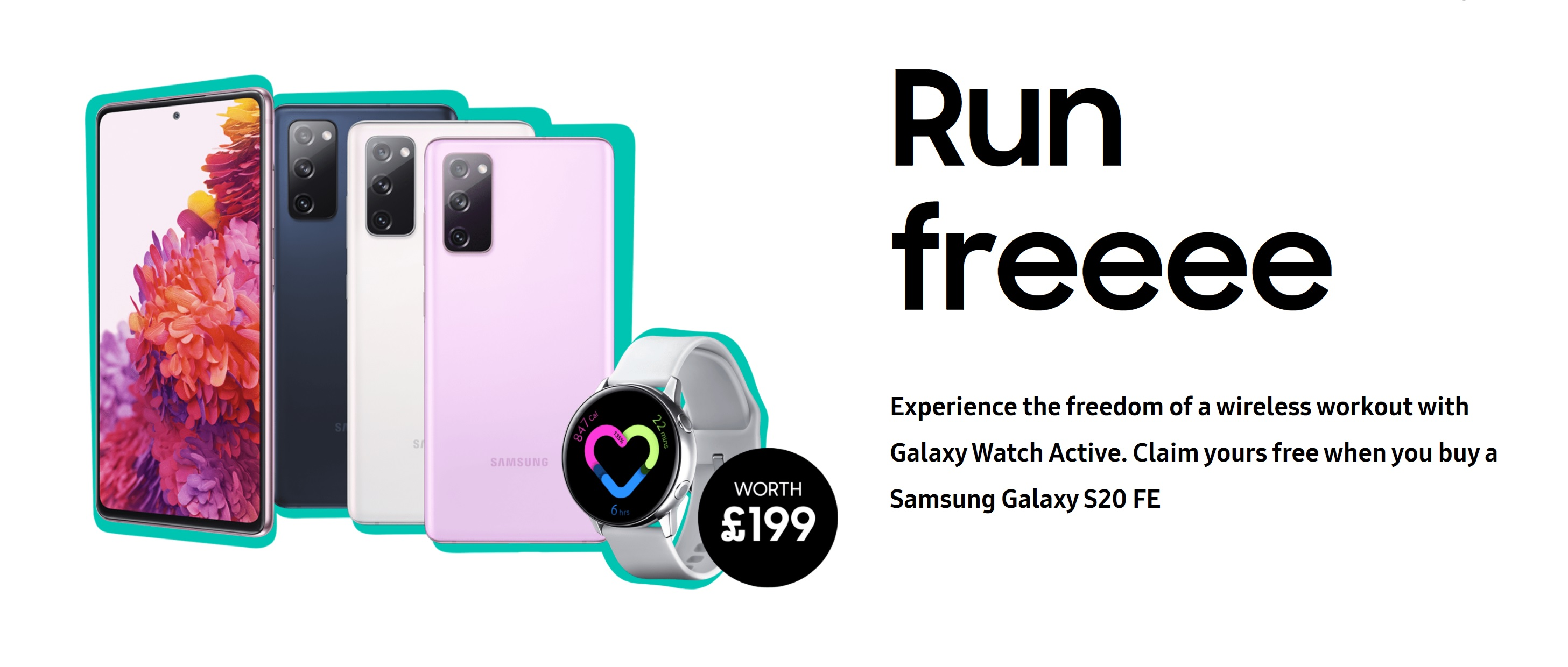 Claim a Free Galaxy Watch Active with Samsung S20 FE 4G and 5G deals