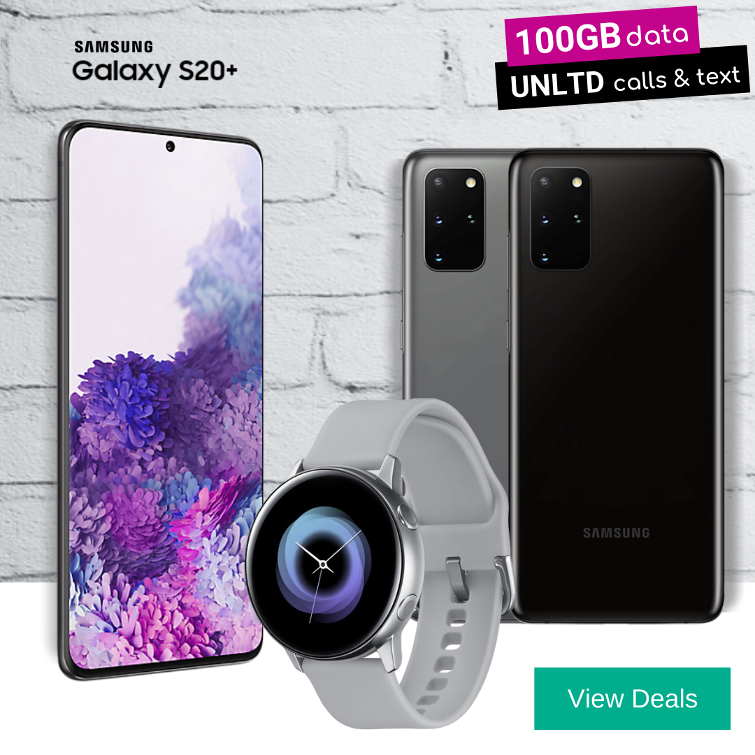 Free Galaxy Watch Active with Samsung S20+ (S20 Plus) contract deals