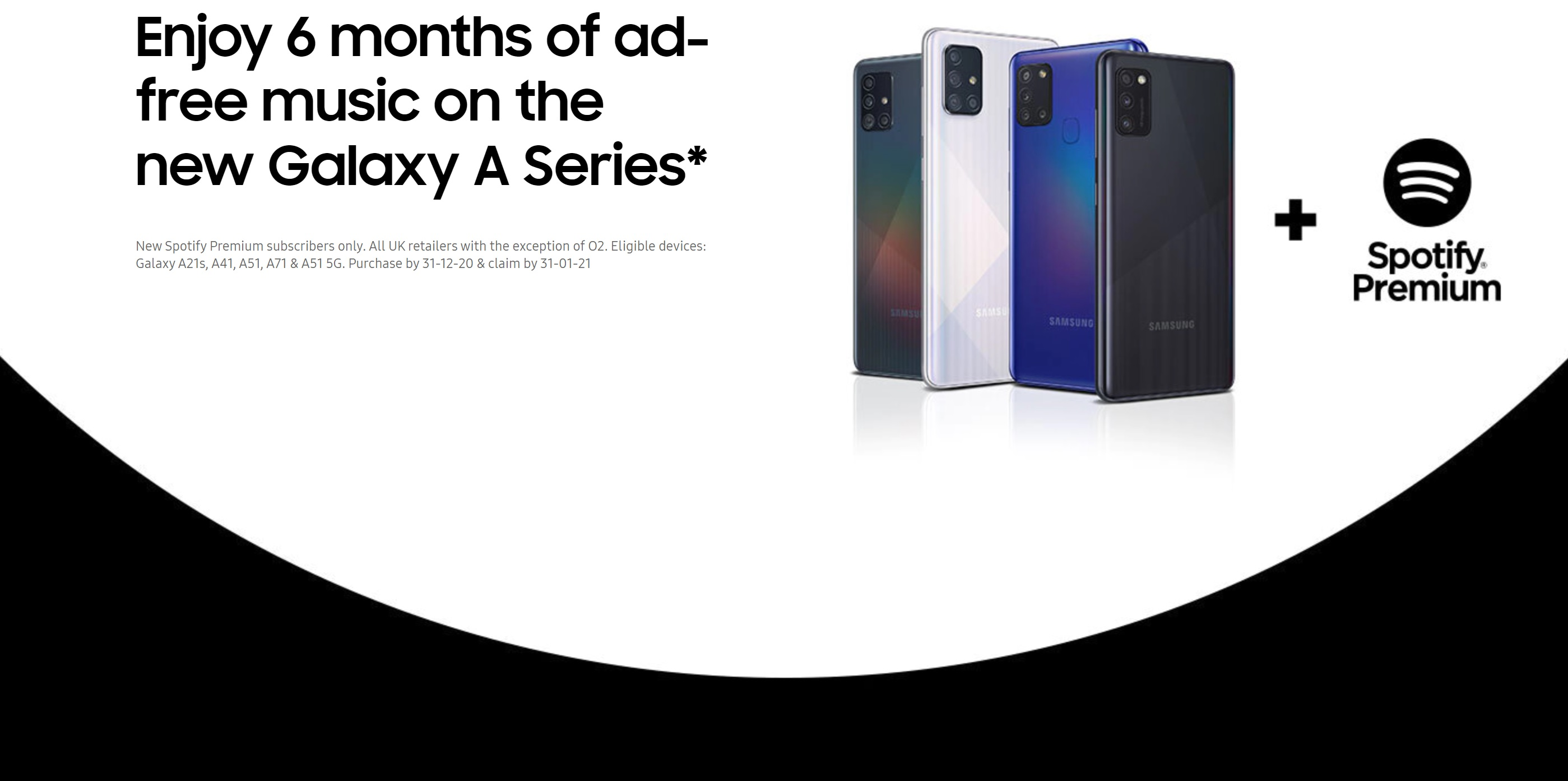 Claim 6 months free Spotify Premium with Samsung Galaxy A51 and A71 contract deals