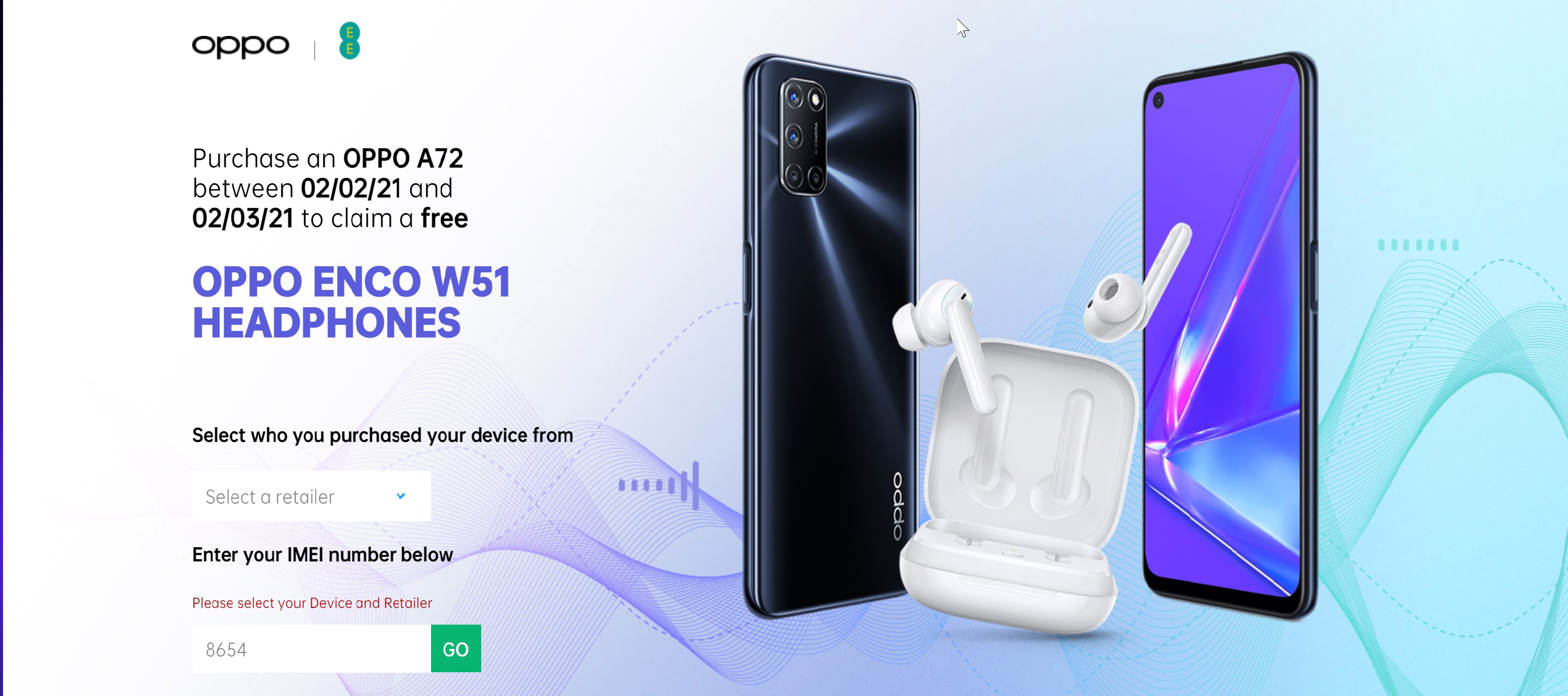 Free Oppo Enco Headphones with Oppo A72 Deals