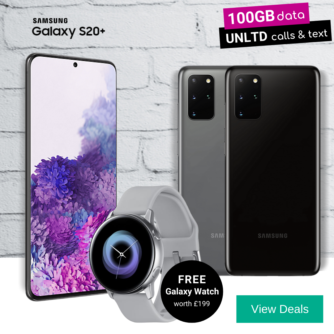 Claim a Free Galaxy Watch Active with Samsung S20 Plus (S20+) deals