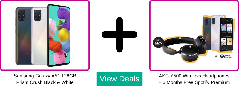 Free AKG Y500 Headphones with Samsung Galaxy A51 contract pay monthly deals