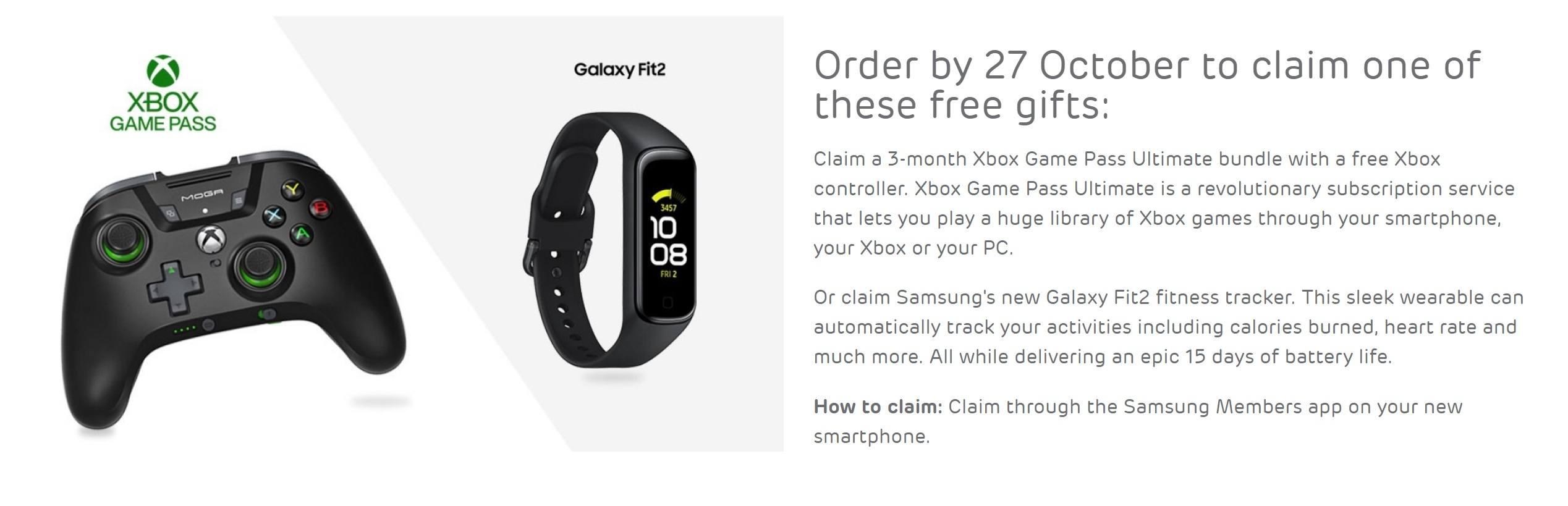 Claim 3 months free XBox Game Pass Ultimate with a free MOGA controller or a free Galaxy Fit2 fitness tracker with Samsung S20 FE (Fan Edition) contract deals