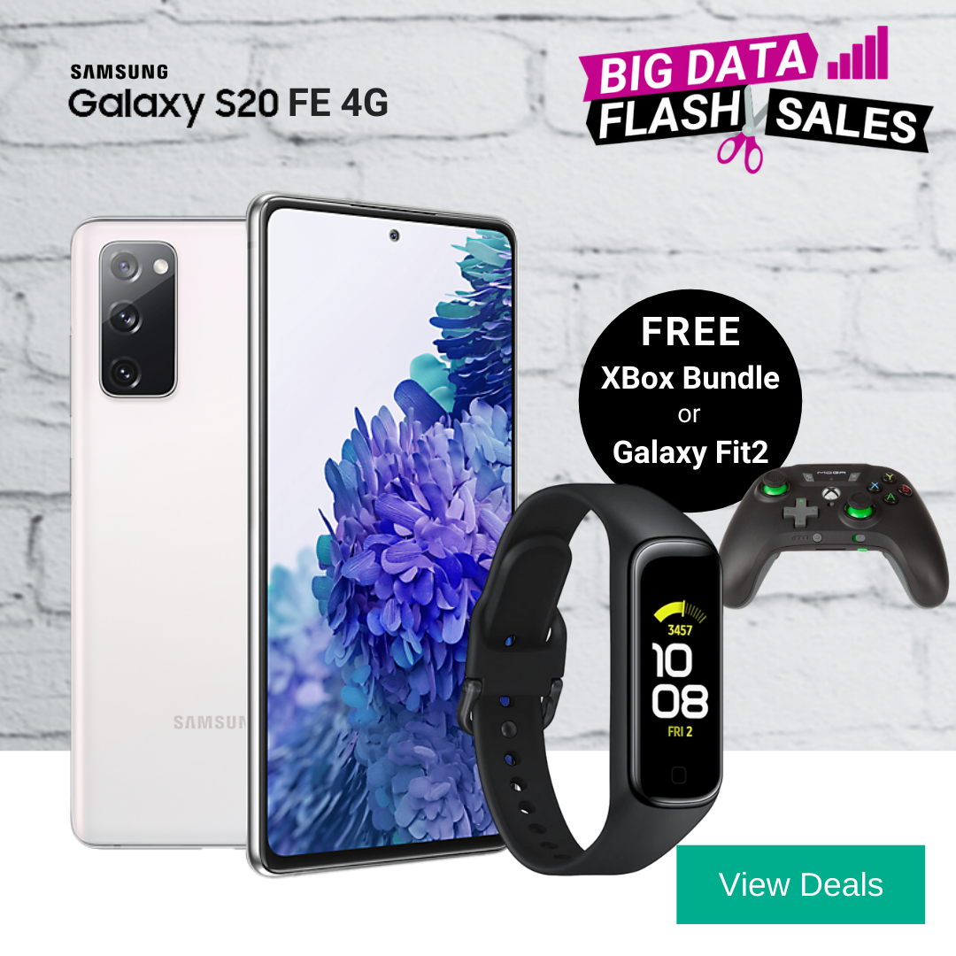 Samsung Galaxy S20 FE 4G deals with free Galaxy Fit2 or XBox Game Pass Bundle & Controller