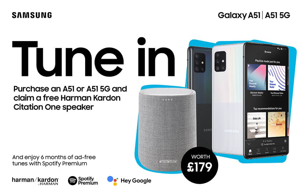 Samsung A51 contract deals with free Harman Kardon Citation One Smart speaker