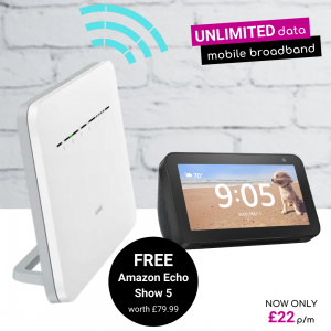 Unlimited 4G Broadband deals with Free Amazon Echo Show 5