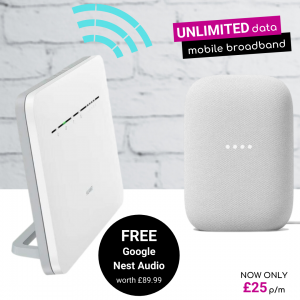 Free Google Nest Audio with 4G Unlimited Mobile Broadband Home Hub Deals