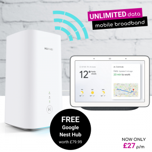 5G Mobile Broadband Home Hub CPE Deals with Free Google Nest Hub