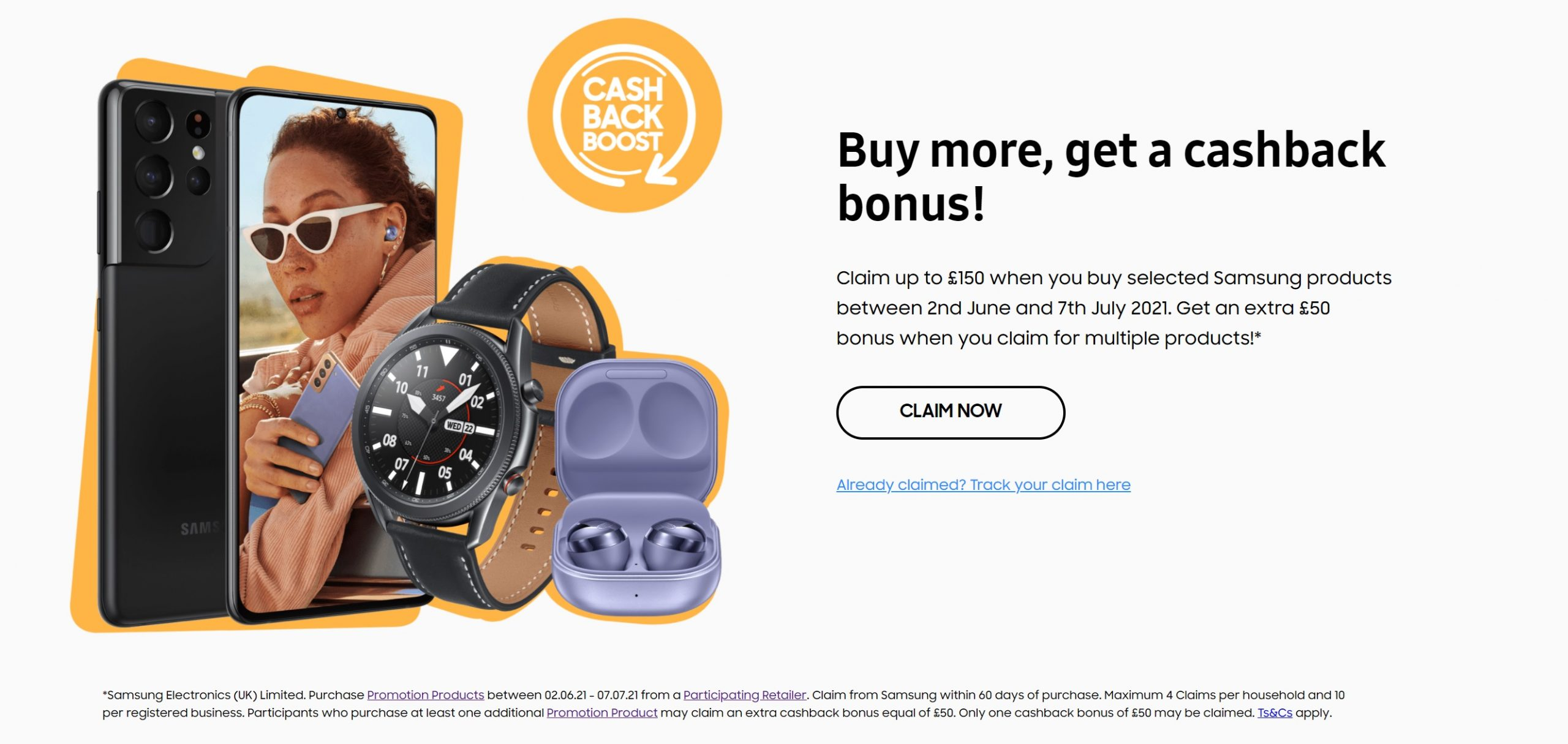Samsung's Summer Cashback Boost - Claim up to an extra £150 cashback