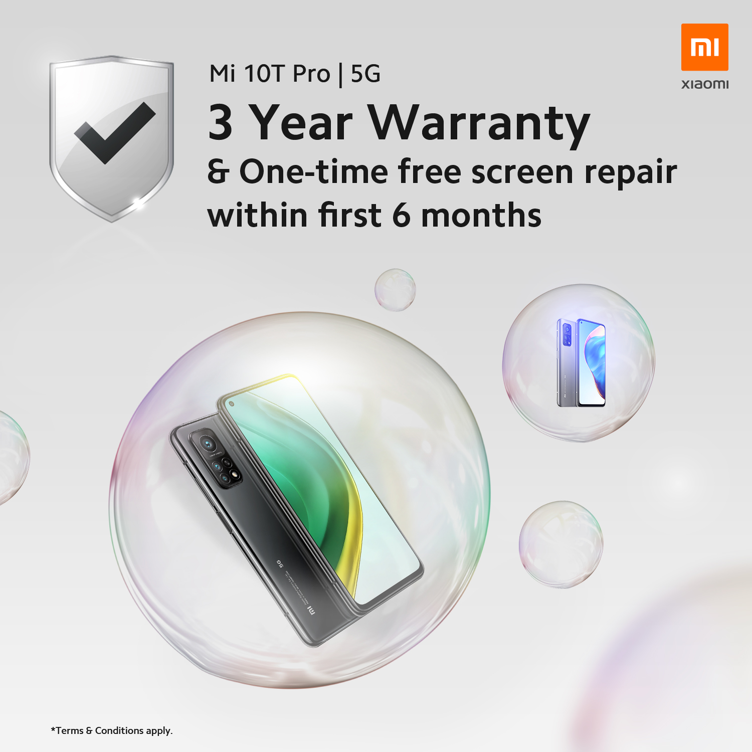 Enjoy an extended 3 years warranty and free one time screen repair with Xiaomi Mi 10T Pro deals