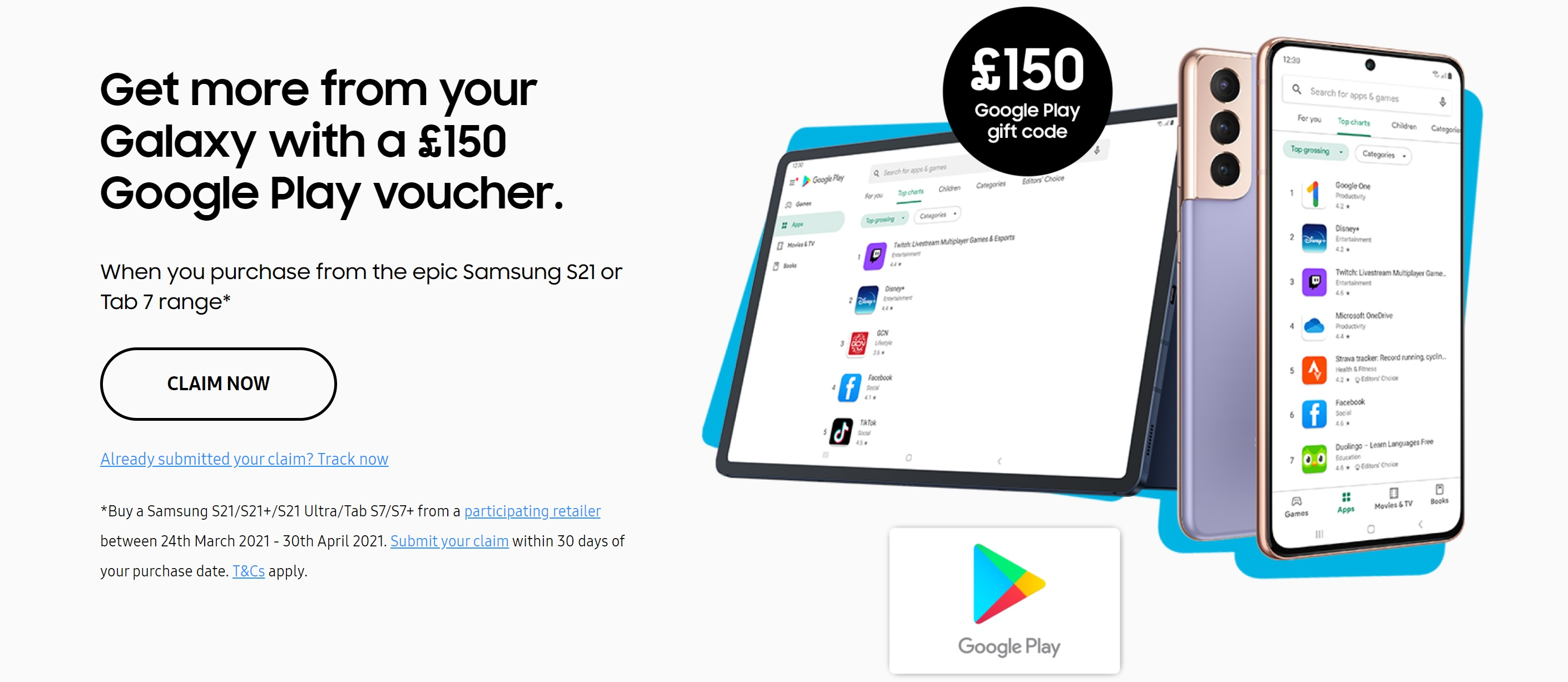 Claim Free £150 Voucher Code for Google Play with Samsung S21, S21+ and S21 Ultra contract deals