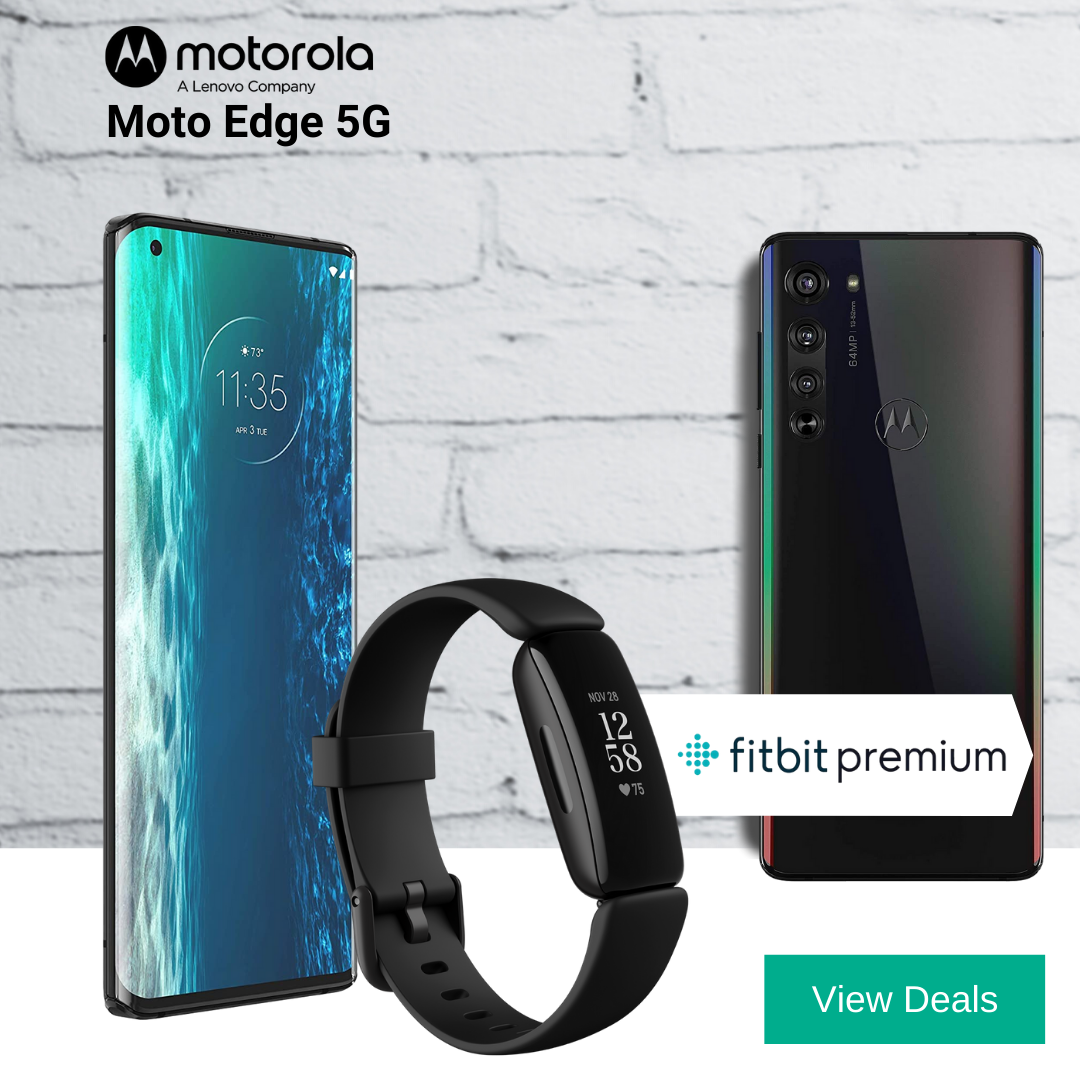 Moto Edge 5G deals with Free FitBit Inspire 2 + 12 Months Free FitBit Premium worth £169.98